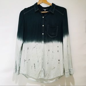 Rubbish  Chambray Ombré Splatter Button Down Top